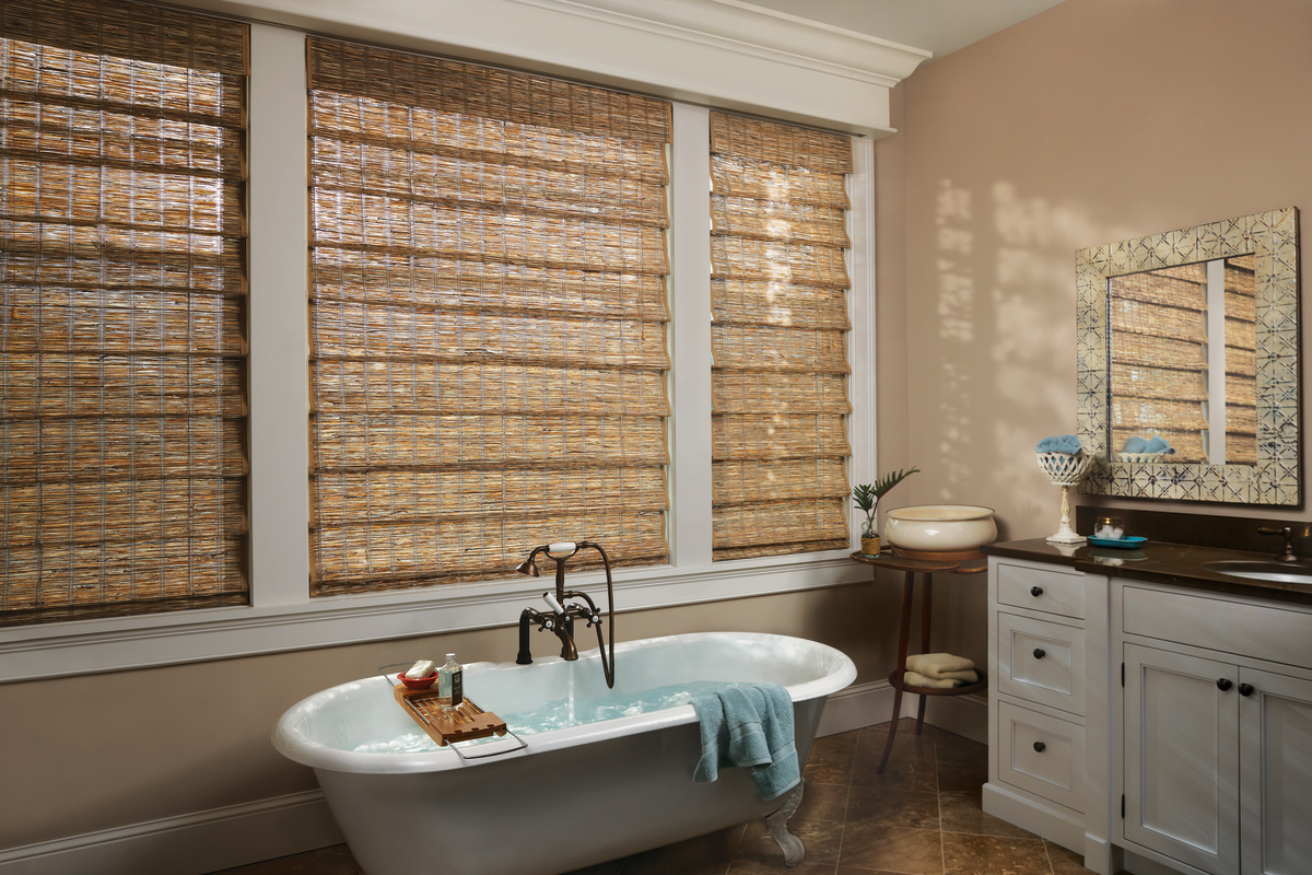 Custom Woven Woods Shades for a Home Bathroom in Spring Valley, New York (NY)